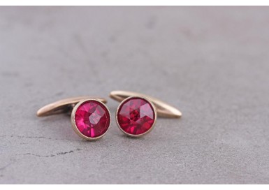 Cufflinks with synthetic rubies