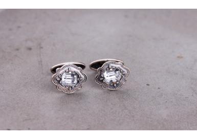 Cufflinks with clear crystal