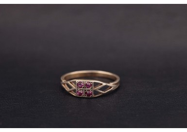 Кольцо Розовый квадрат
