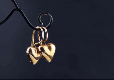 Серьги Золотые сердца