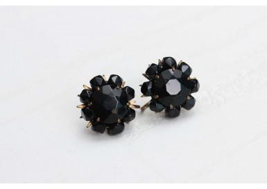 Клипсы Черные цветы